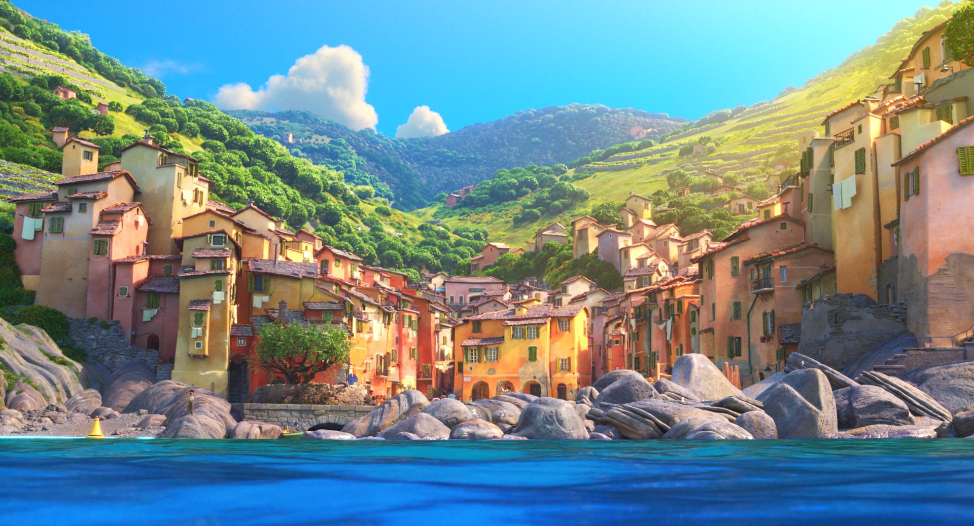 Una vista de Portorosso. © 2021 Disney/Pixar. All Rights Reserved.