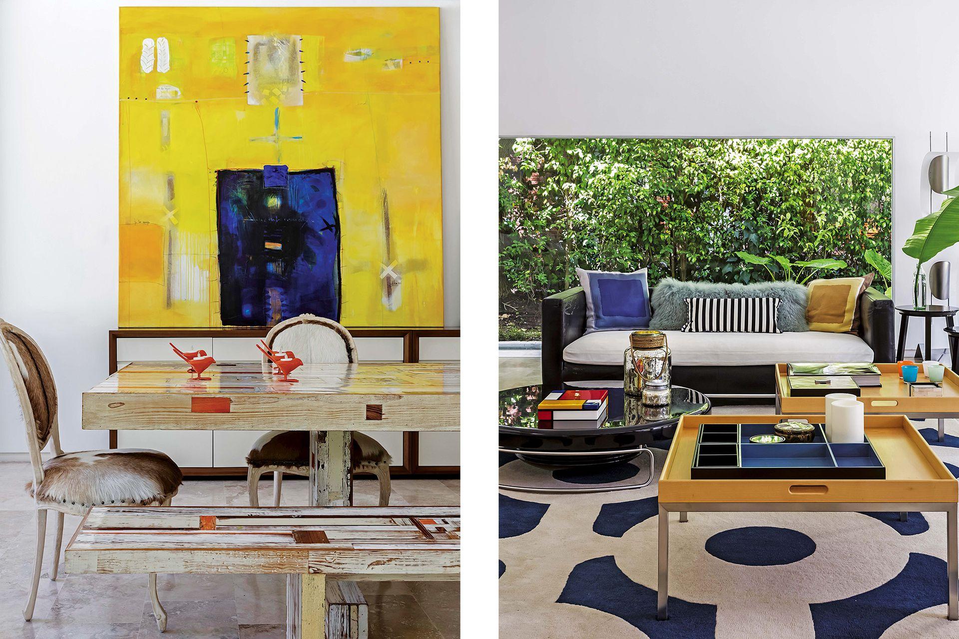 La alfombra importada acompaña la escala y la gama del living.