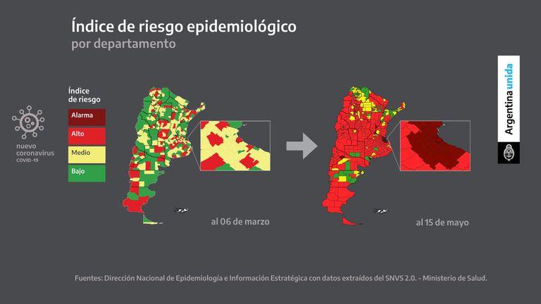 El mapa que mostró el Presidente para exhibir la evolución de los contagios en todo el país