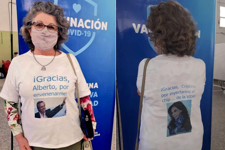 Con un mensaje irónico, la mujer le agradeció al Presidente y a su vice, Cristina Kirchner, por la adquisición del inmunizante ruso; la imagen reavivó la polémica en torno a la calidad del suero