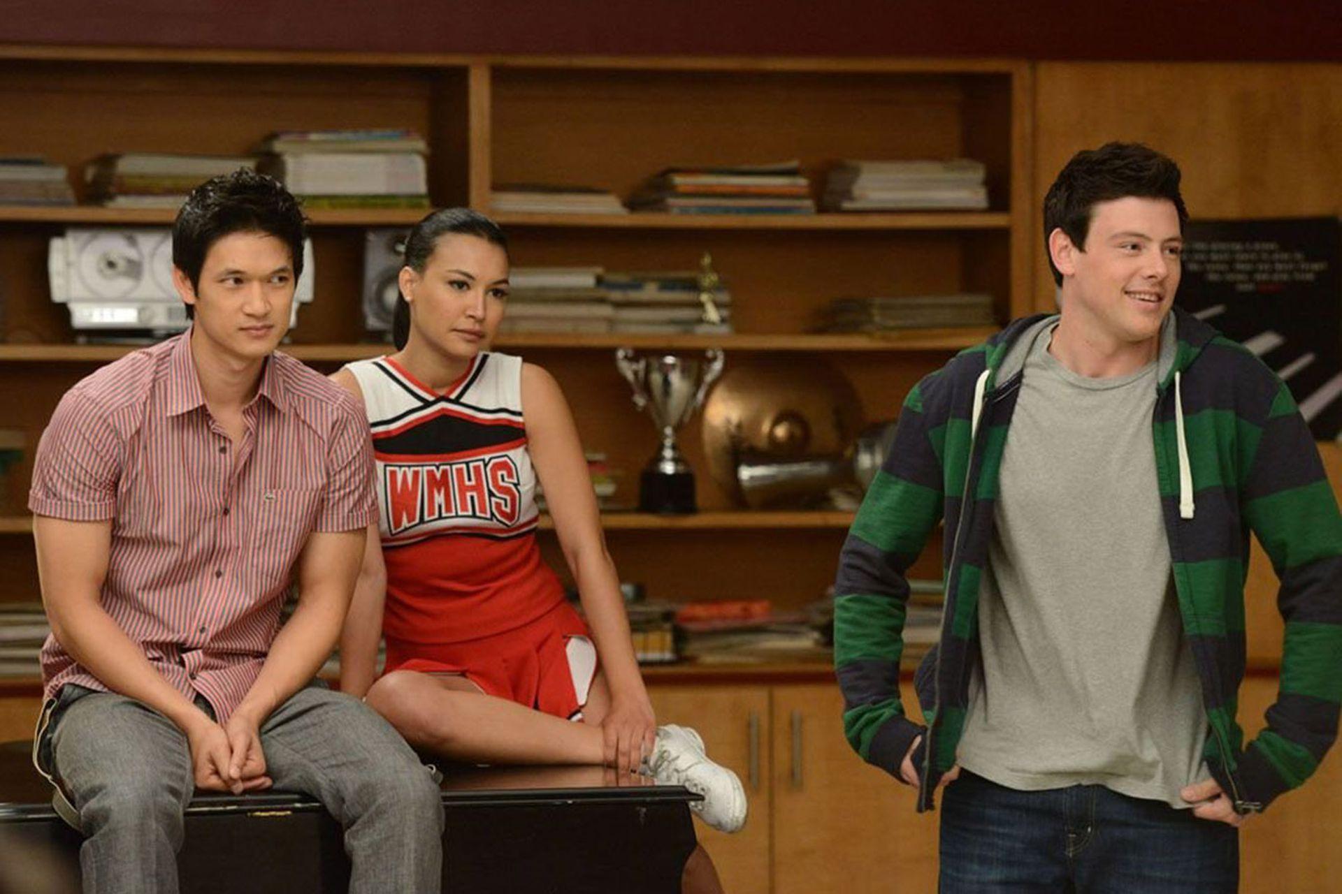 Corey Monteith y Naya Rivera en Glee