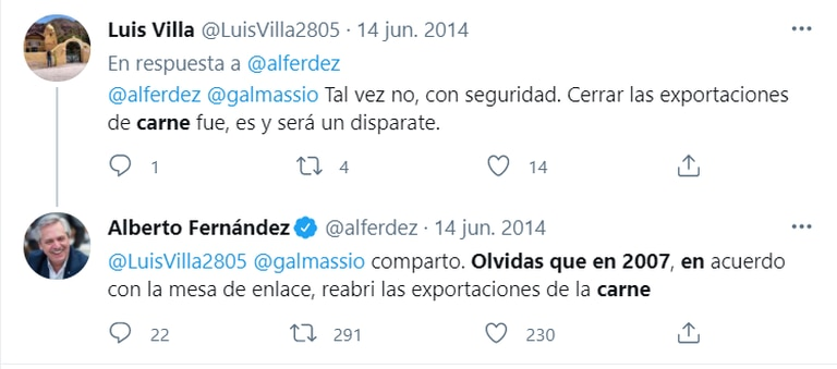 """El tuit de Alberto Fernández sobre el """"disparate"""" de no permitir las exportaciones de carne"""
