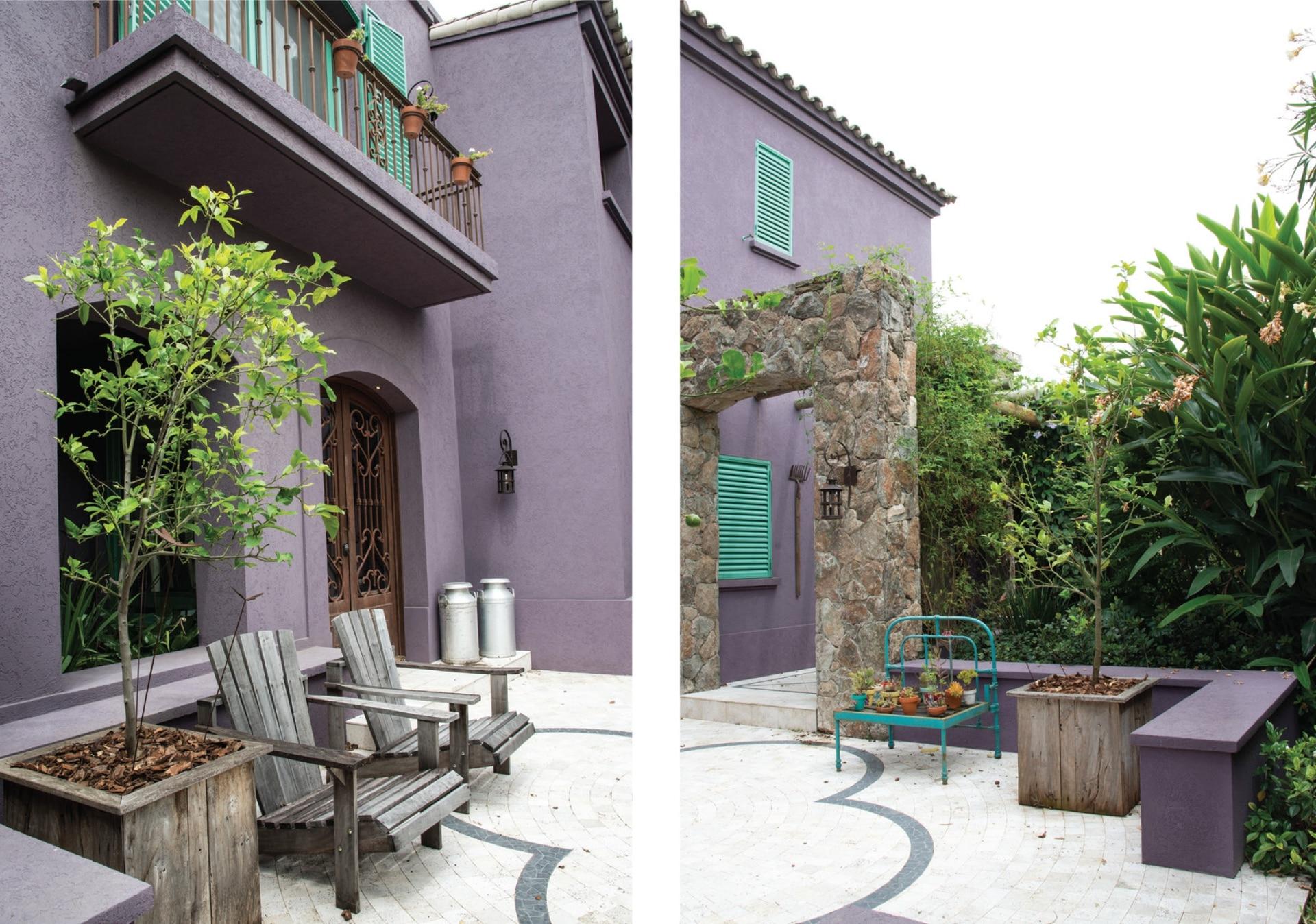 En una decisión audaz, el color lavanda de la fachada evoca los notos naturales de la Provenza.