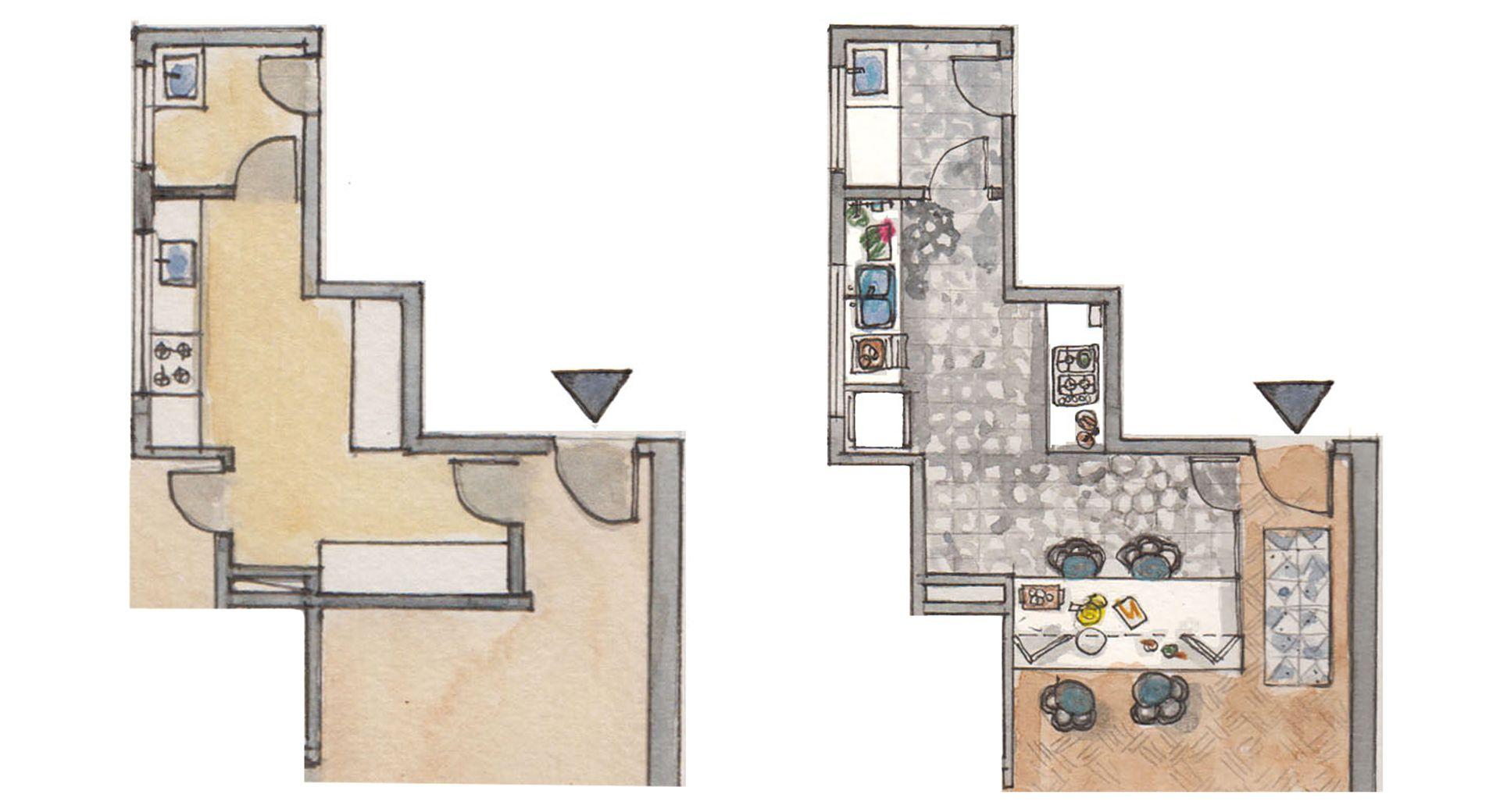 Antes y después. El horno se llevó a la pared opuesta para aumentar el espacio de trabajo, mientras que se tiró la pared que da al living para armar la barra con cerramiento de vidrio plegable. Nuevos muebles, pisos y revestimientos.
