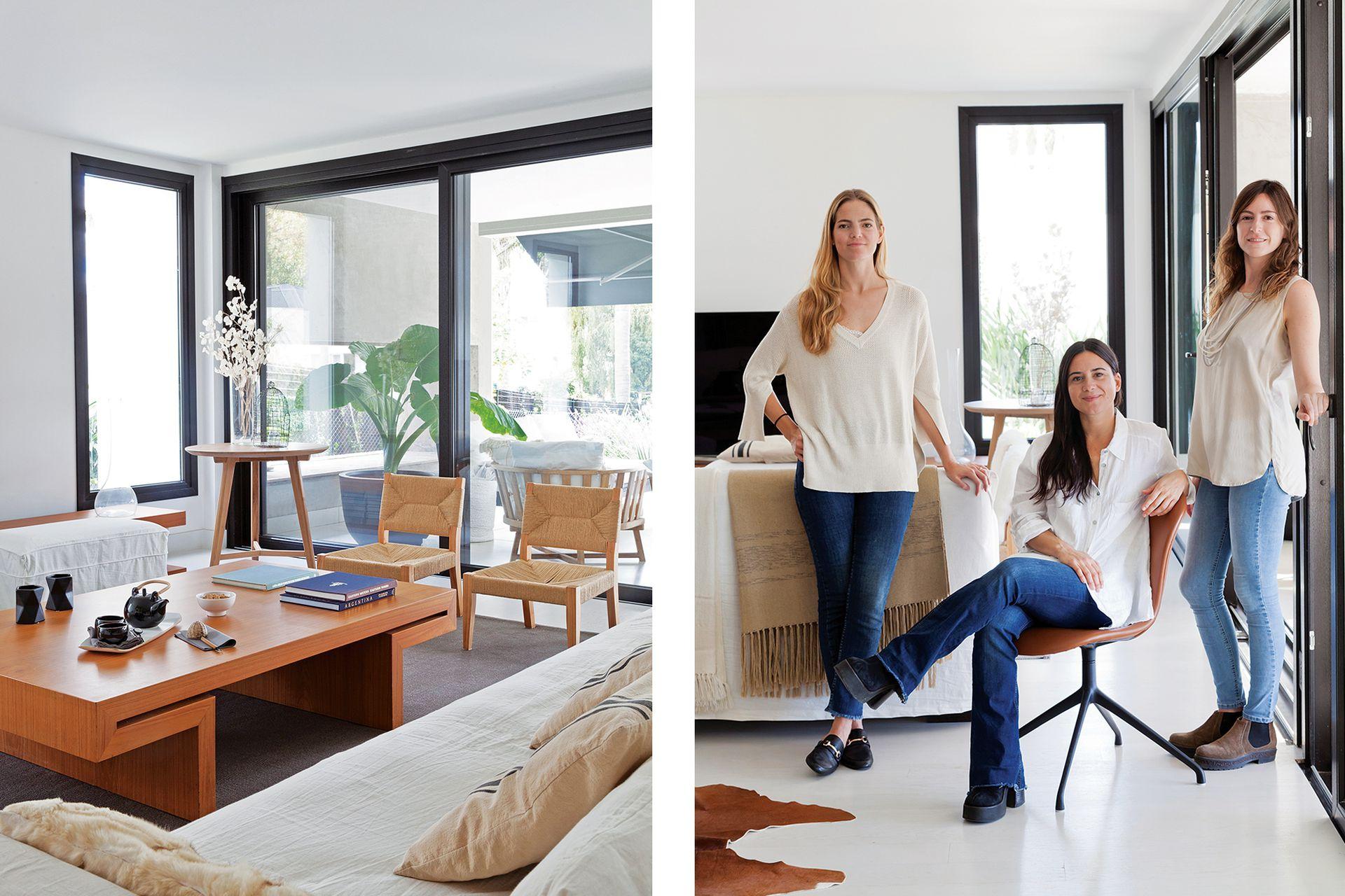 Junto al sillón tapizado en lino blanco de Pía Fradusco, las arquitectas Lucila Fernández Mosquera, Josefina Ceppi y Belén Anaya de Estudio TREA.