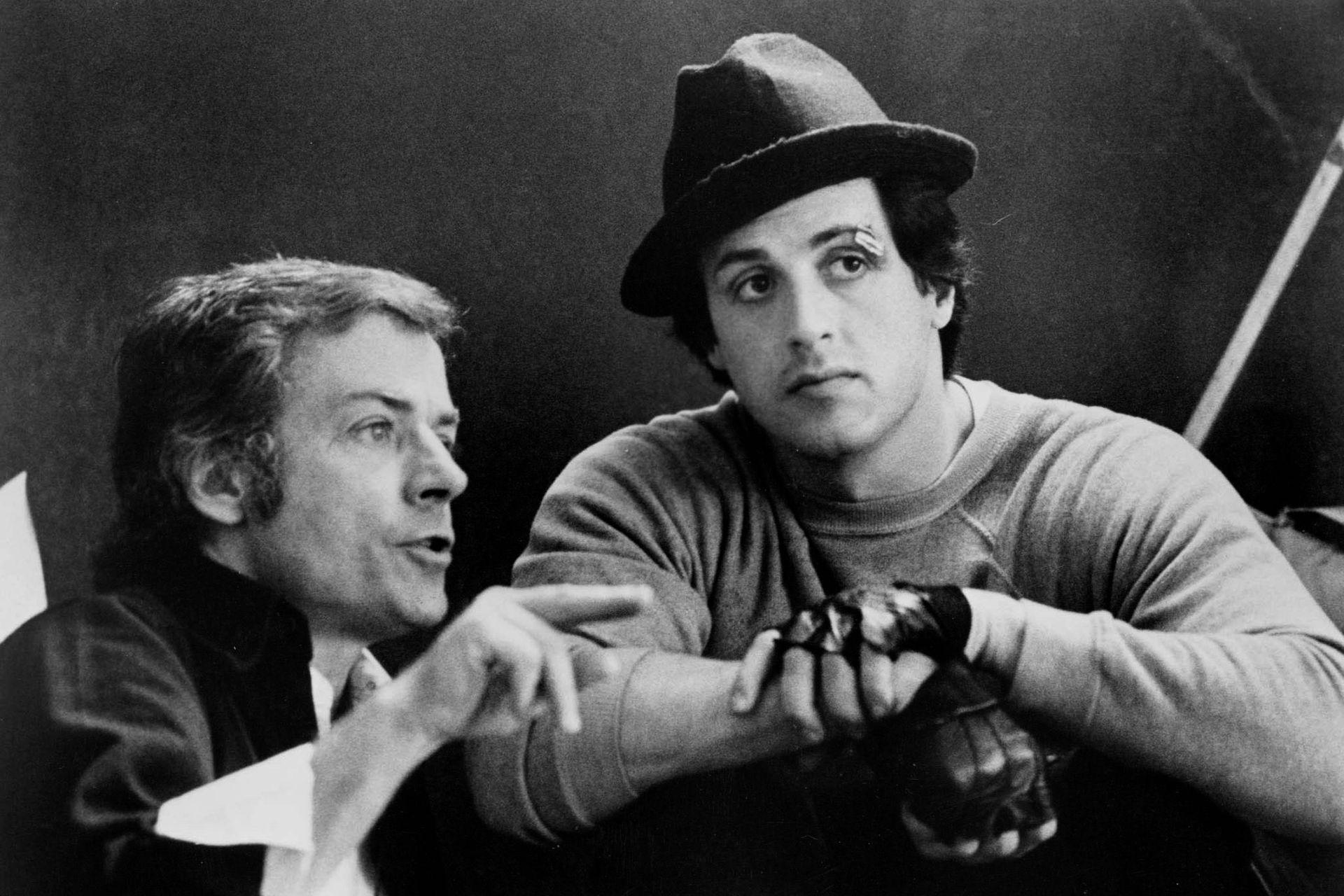 John Avildsen y Sylvester Stallone, en 1976