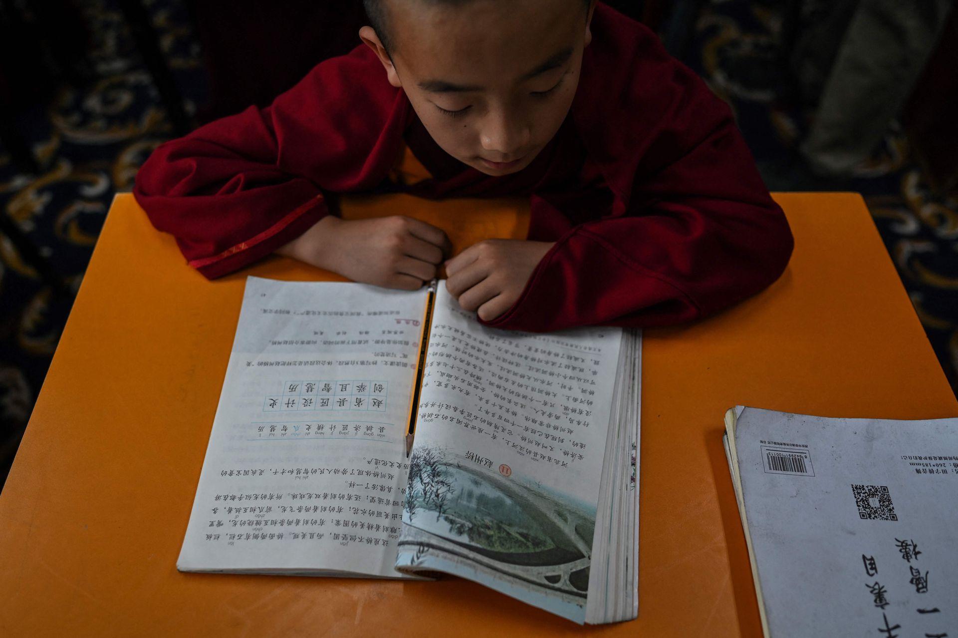 Un joven monje lee textos en chino en el Colegio Tibetano