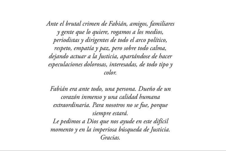La familia de Fabián Gutiérrez emitió un comunicado donde piden que se deje actuar a la Justicia