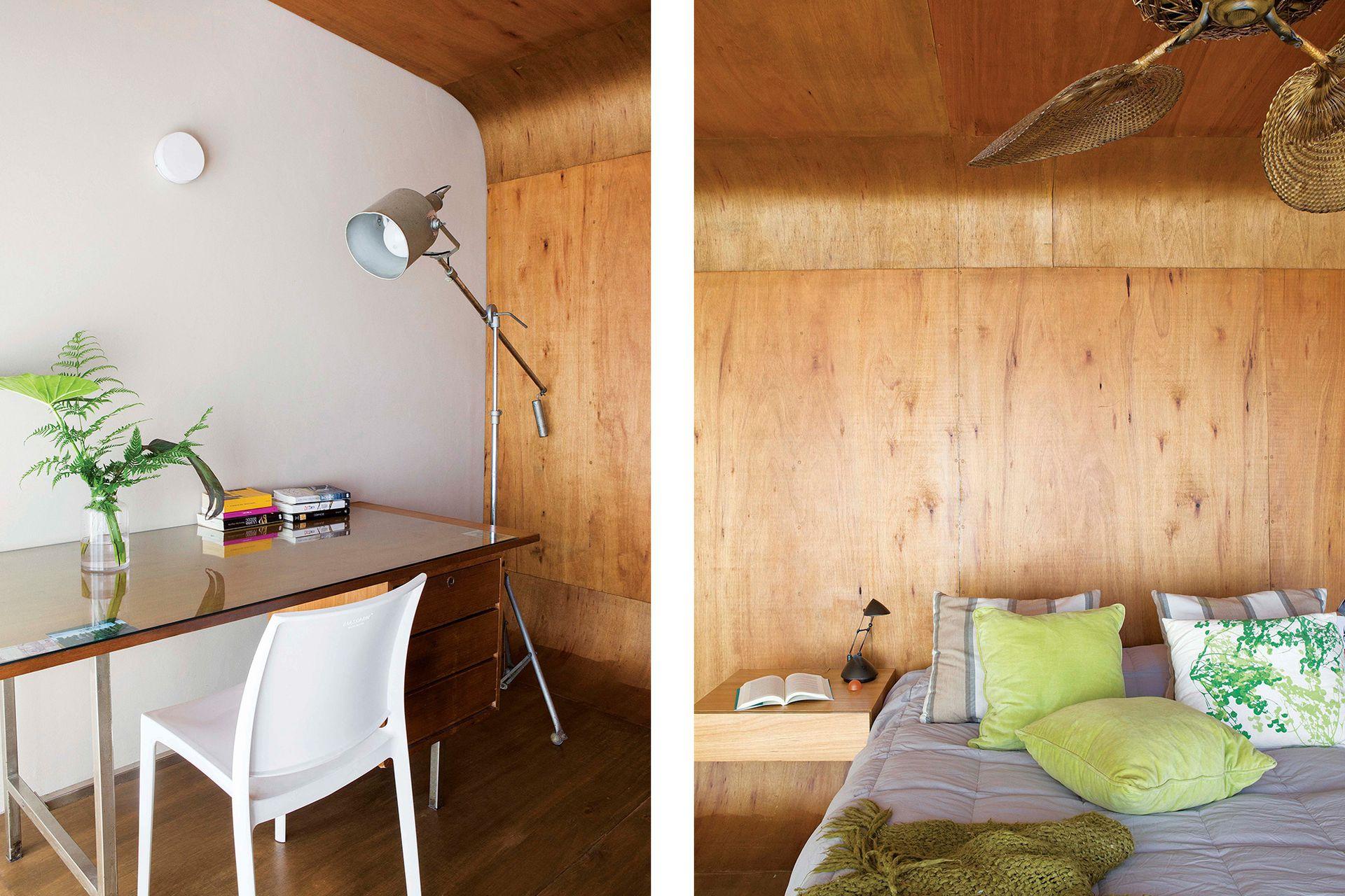 La zona del escritorio tiene un mueble heredado y una lámpara de pie de la época en que la dueña trabajaba en producción de publicidad, cine y televisión.