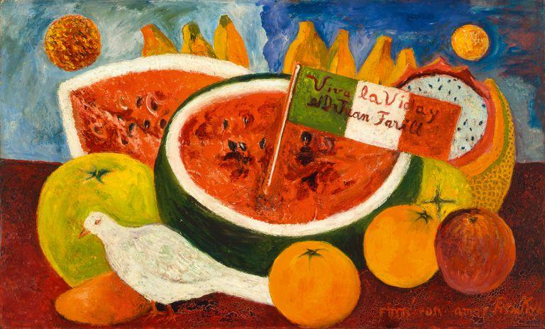 """""""Viva la vida"""" (Still Life (Long Live Life),1953/54, otra de las obras incluidas en el nuevo libro sobre las pinturas de la artista (México, colección privada, Rafael Doniz)"""