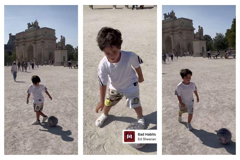 Mateo Messi tiró magia con la pelota en las calles de París
