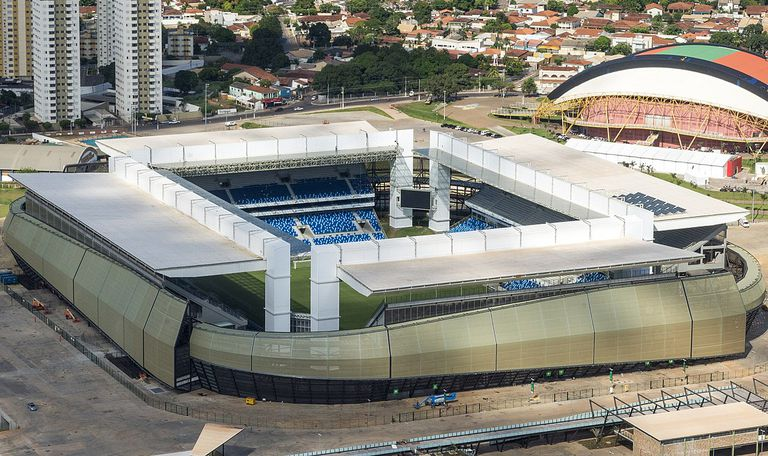 El Arena Pantanal, de Cuiabá, fue levantado para el Mundial Brasil 2014; allí, la Argentina cerrará frente a Bolivia su participación en el grupo A, el lunes 28 de junio.