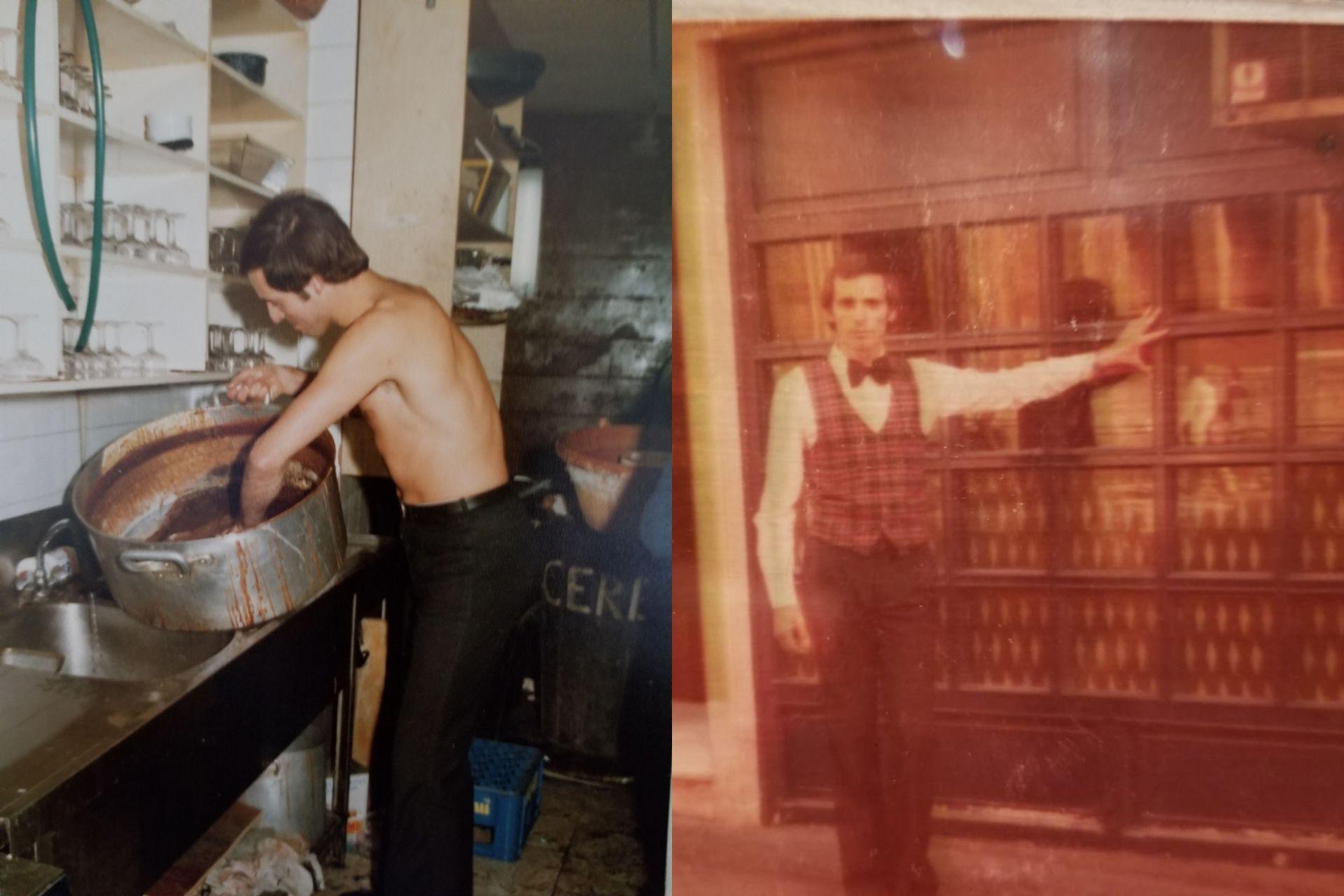 Izquierda: a Daniel le tocó lavar cacerolas en la fiesta de Año Nuevo en la disco Cerebro, donde trabajaba. Derecha: en su primer trabajo en el bar irlandés Kirura, en Moncloa.