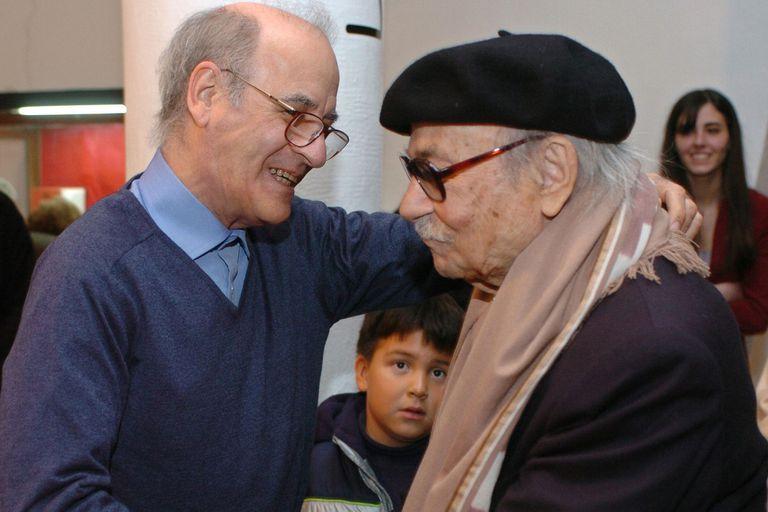 Quino junto al escritor Ernesto Sábato en agosto del 2004
