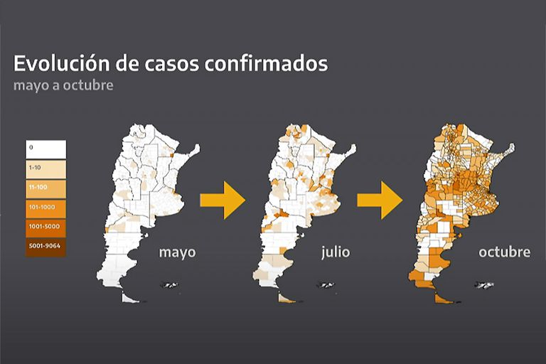 La evolución de los casos confirmados en el país