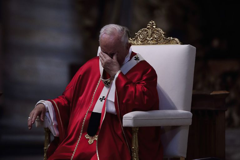 15 June 2019, Vatican, Vatican City: Pope Francis reacts during the funeral service of Cardinal Leon Kalenga Badikebele, the Apostolic nuncio in Argentina, in St. Peter s Basilica Photo: Evandro Inetti/ZUMA Wire/dpa
