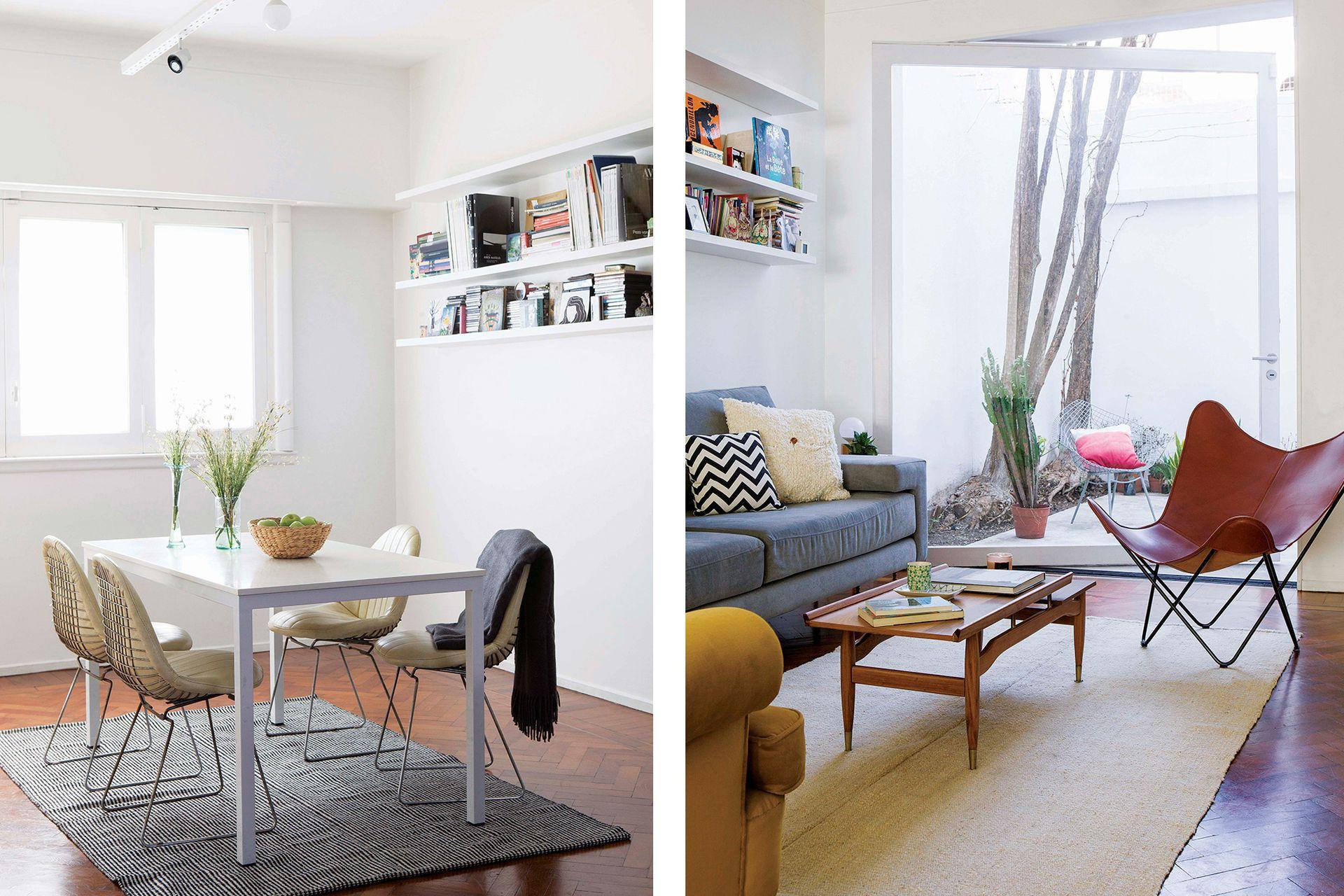En el comedor, alfombra 'Moiré' (Elementos Argentinos). Mesa blanca hecha a medida y sillas tipo 'Eames'.