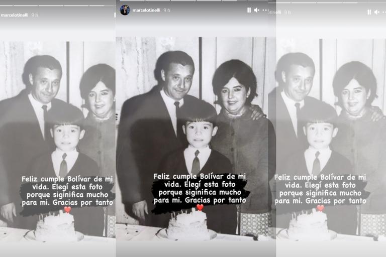 Marcelo Tinelli saludó a su Bolívar natal con una imagen de su infancia junto a sus padres   Foto: Instagram @marcelotinelli