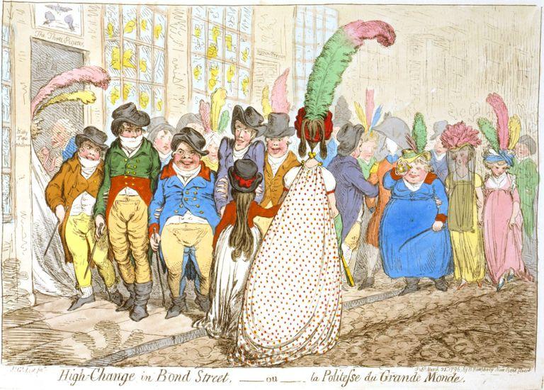 Caricatura de la Bond Street londinense, en los tiempos de la reina Victoria.