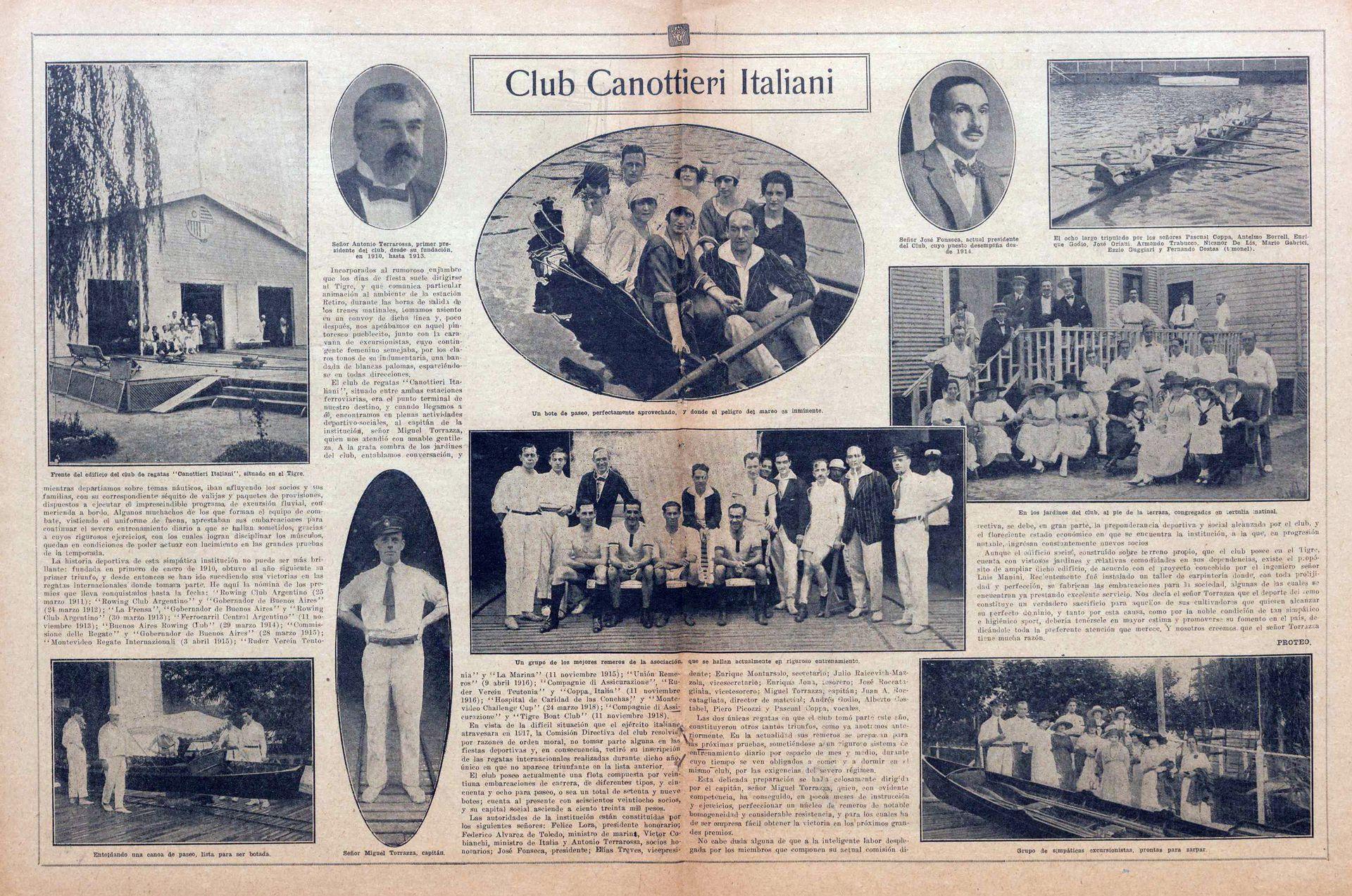 Una publicación de Fray Mocho del 24.12.1918. A la izquierda, la primera sede del Club Canottieri.