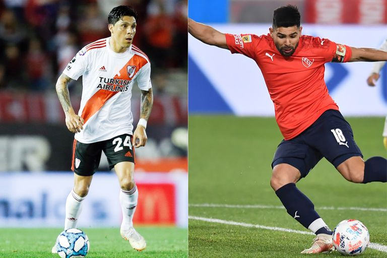 Enzo Pérez y Silvio Romero, dos referentes de River e Independiente, que se enfrentan en la noche del domingo