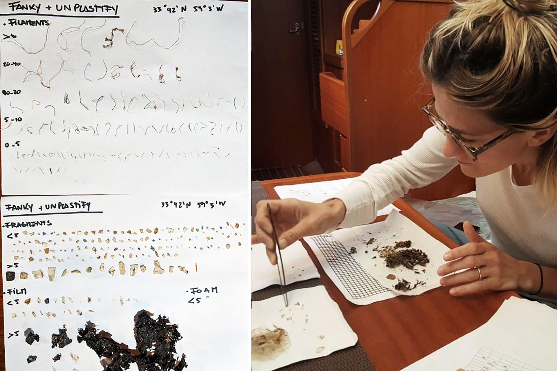 En la primera muestra que tomó en el medio del océano encontró 134 filamentos, 49 partes de film, 38 fragmentos y 5 trozos de telgopor