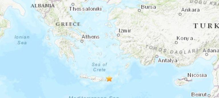 12-10-2021 Grecia.- Registrado un terremoto de magnitud 6,3 frente a la isla de Creta.  Un terremoto de magnitud 6,3 en la escala abierta de Richter ha sacudido este martes frente a la isla de Creta, en el sur de Grecia, según ha informado el Instituto Geodinámico de Atenas, sin que por ahora haya informaciones sobre víctimas o daños.  POLITICA BALCANES EUROPA GRECIA INTERNACIONAL USGS