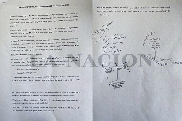 El documento de externación de la clínica Olivos dejó consignado que Diego Maradona no había recibido el alta médica