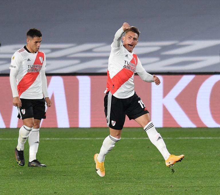El festejo del gol de Brian Romero a Independiente