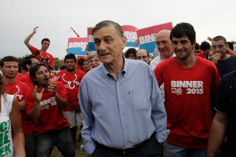 Hermes Binner en Mar del Plata, durante su campaña de 2015