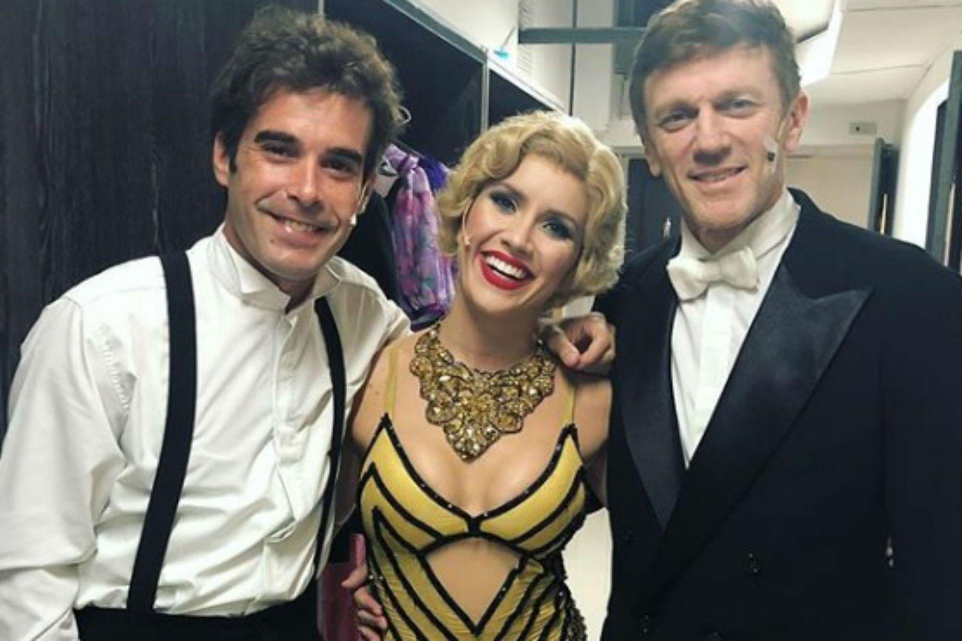 Laurita, junto a sus compañeros de Sugar, Nicolás Cabré y Federico D´Elia