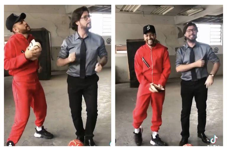 El épico baile de Neymar con un personaje de La casa de papel