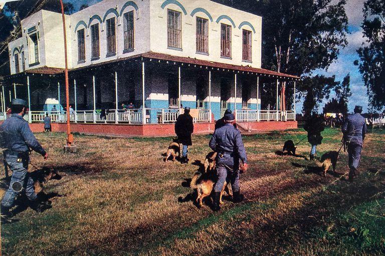 En julio de 1985, rastrillajes por el predio de la Colonia Montes de Oca, en la localidad de Torres, cercana a Luján, en busca de rastros de la doctora Cecilia Giubileo
