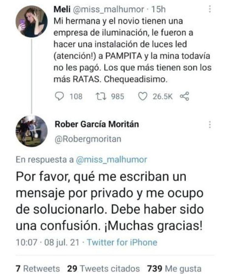 El tuit de la usuaria contra Pampita al que respondió Roberto García Moritán