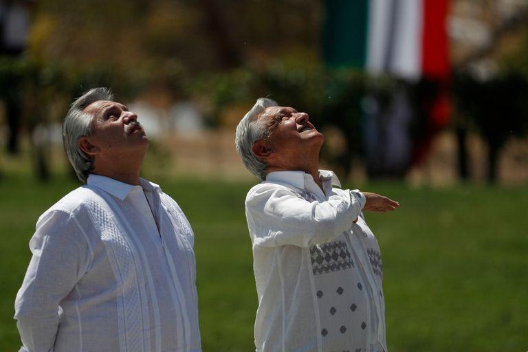 Alberto Fernández, en el cierre de su gira por México, junto con el presidente anfitrión, Andrés Manuel López Obrador