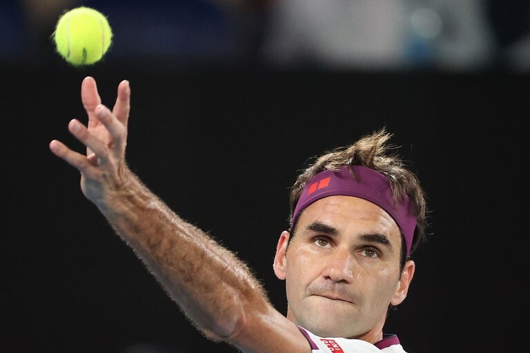 Roger Federer durante el Australian Open 2020.