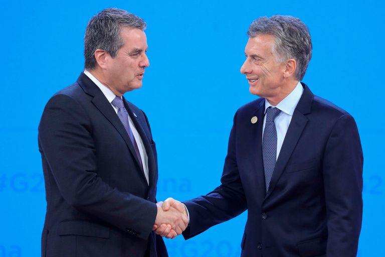 Roberto Azevedo (director general de la OMC) y Mauricio Macri