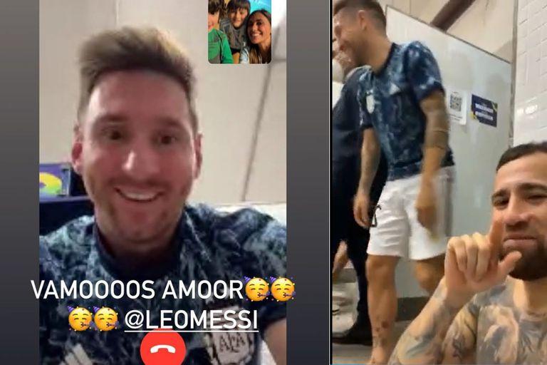 La videollamada de Messi con Antonella y el festejo en el vestuario