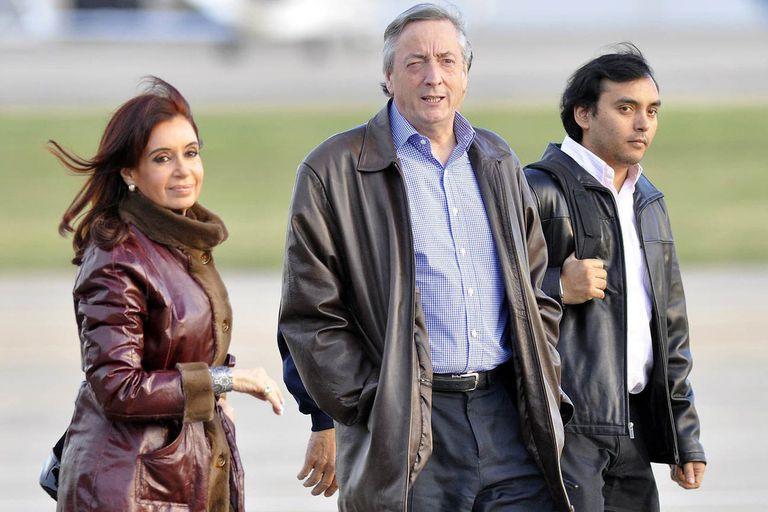 Cristina y Néstor Kirchner, junto al secretario Daniel Álvarez