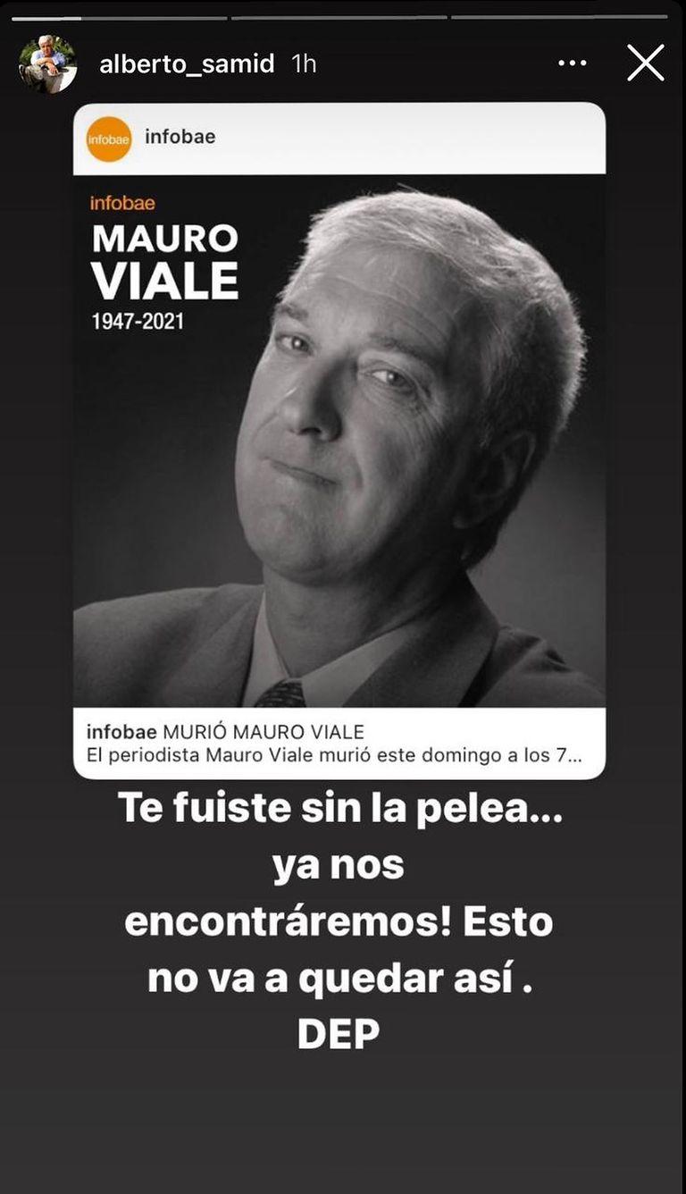 Alberto Samid despidió a Mauro Viale en redes sociales.