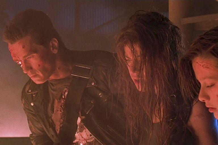 Schwarzenegger y Hamilton en Terminator 2: El juicio final