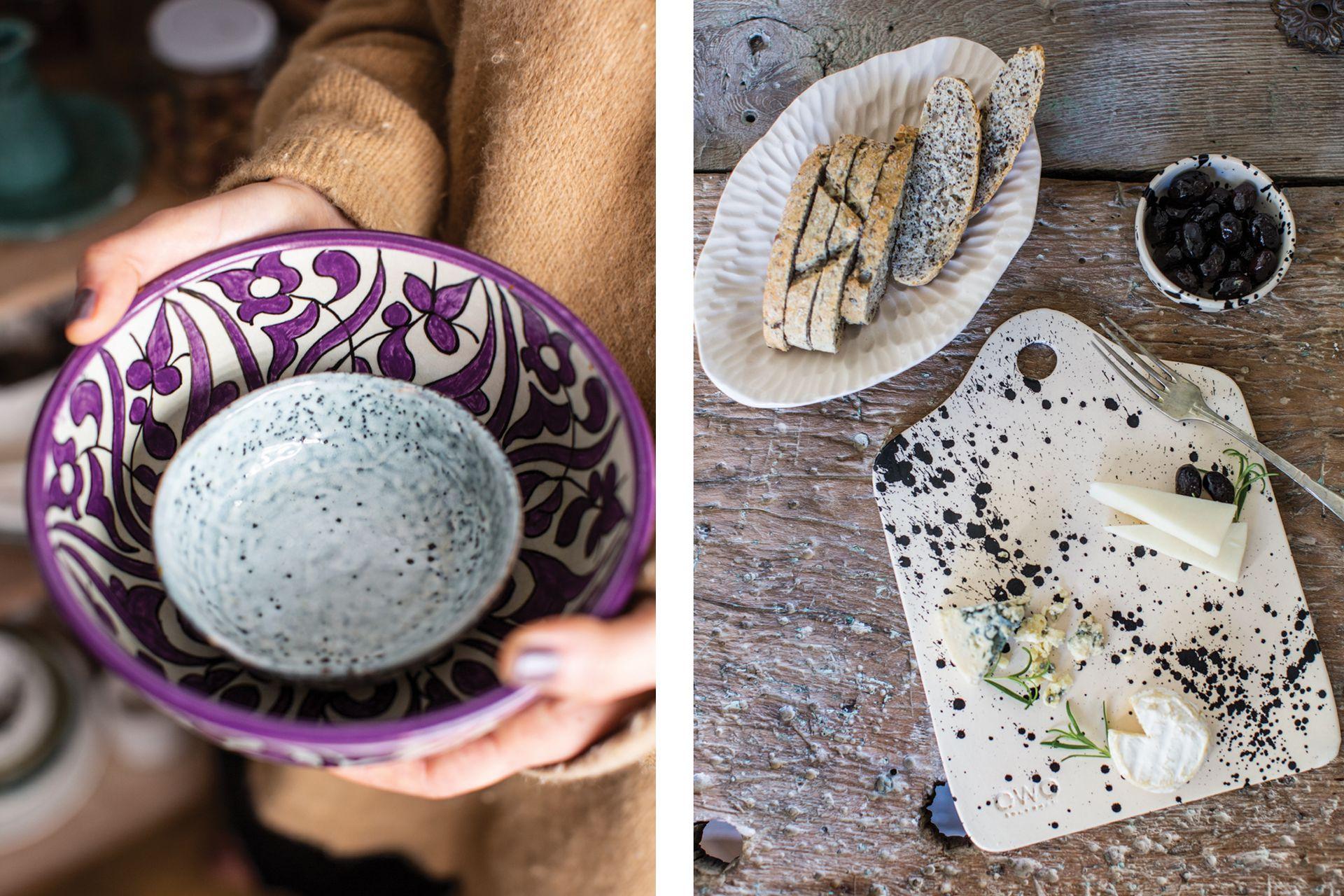 A la izquierda, un bowl que compró en Fez, Marruecos. A la derecha, una tabla de su línea Rock