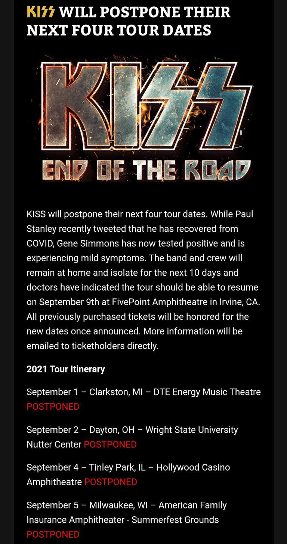 Kiss pospuso nuevas fechas: así lo anunció a través de sus canales de comunicación oficiales
