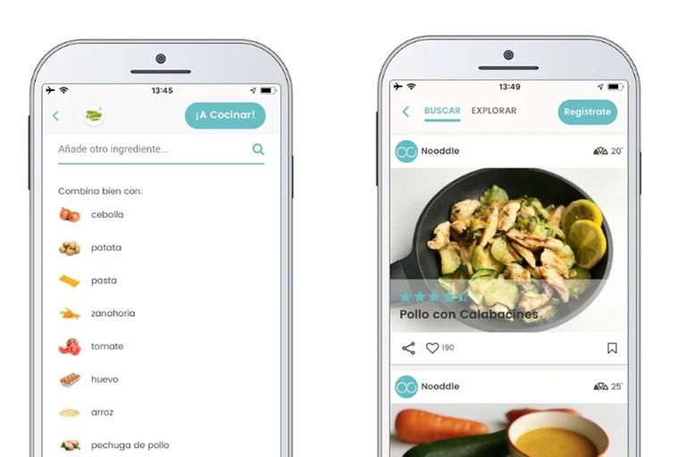Desarrollada en España, Nooddle es un recetario disponible en la Web y en los teléfonos móviles que se puede consultar en base a los ingredientes que están al alcance en el momento