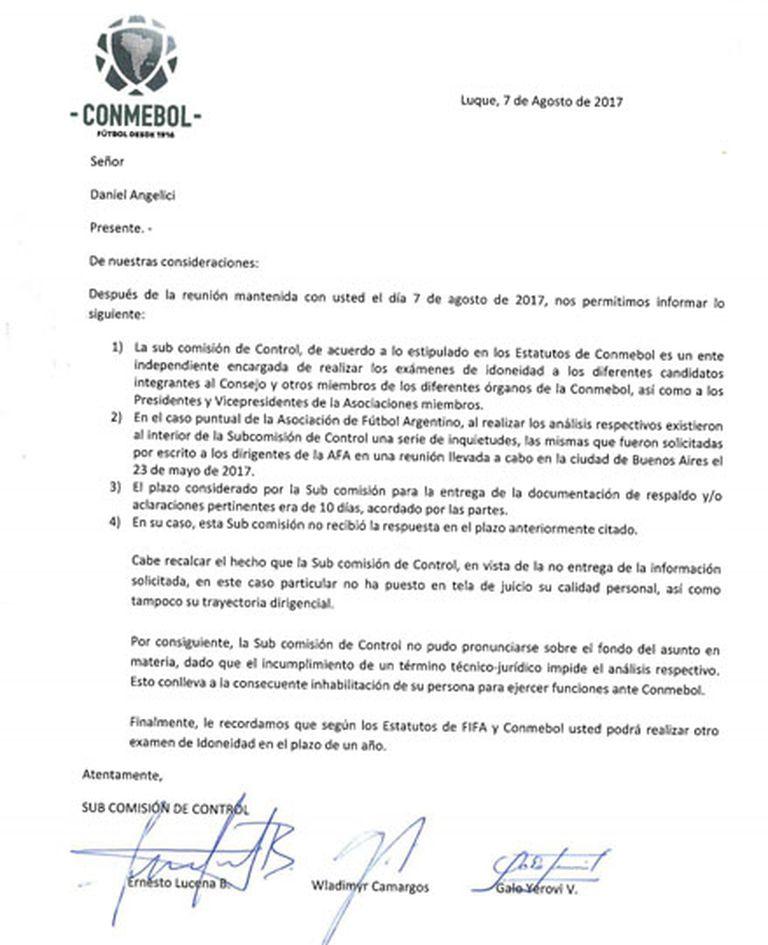 La carta de Conmebol