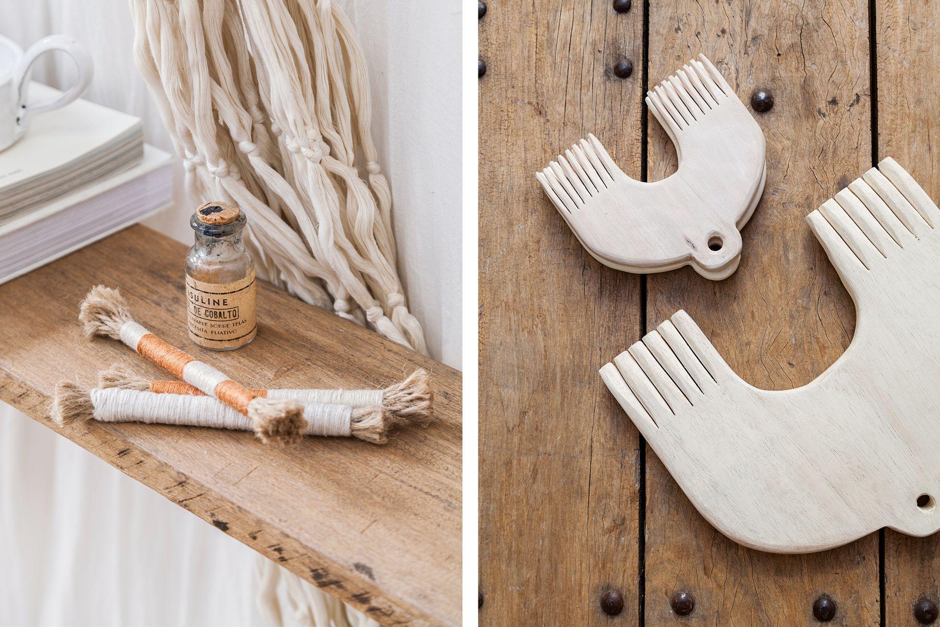 Objetos hechos de manera artesanal como los que hace Caro, pueblan una casa en la que se honran los buenos oficios. Peinetas (Estudio Mes)