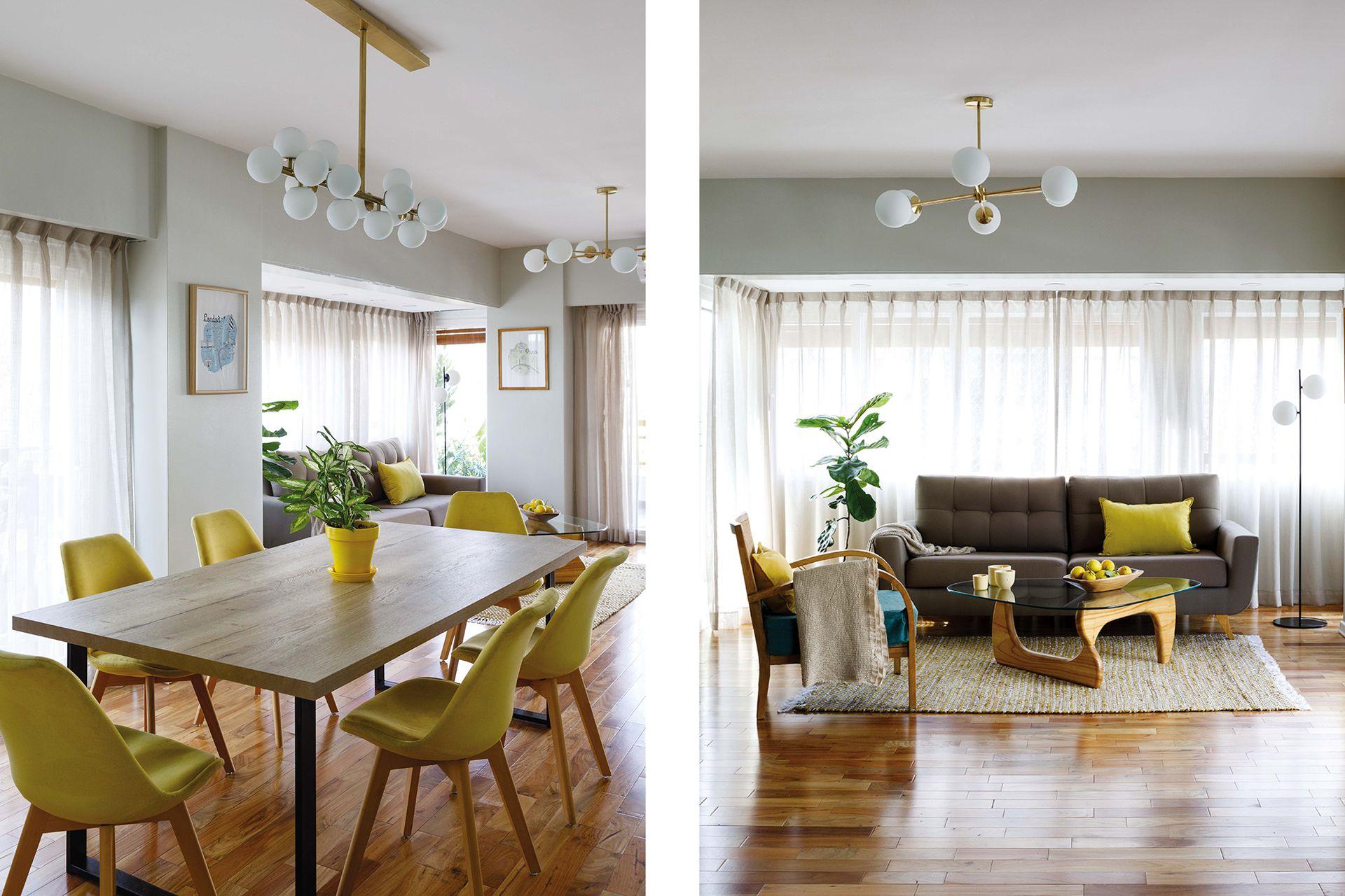 En el living, lámpara colgante 'X' y 'Vintage' de pie (I Wish). Alfombra (Another Home). Sillón (Cúbica Muebles). Mesa Noguchi (Mercado Libre). Velas (Luces Candles & Home + Mancha Objetos).