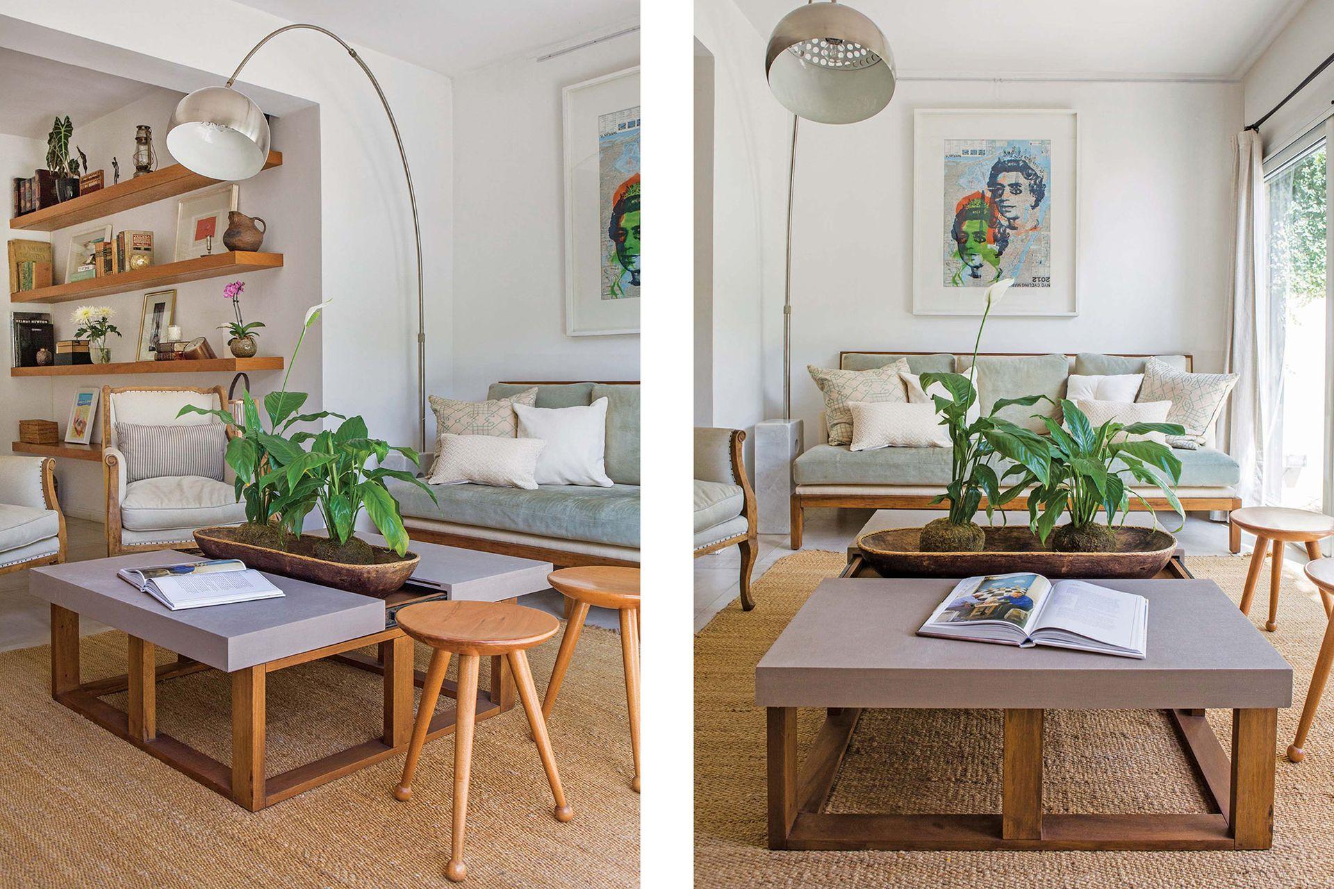 La alfombra de fibra natural (Mihran) organiza el living. Lámpara 'Arco', mesa ratona y sofá (Eugenio Aguirre). Almohadones (Cosa Bonita). Sillones de estilo (Estudio V). Banquitos de madera torneada (Palan). Kokedamas (Rêve Green Deco). Cuadro (Harturo).