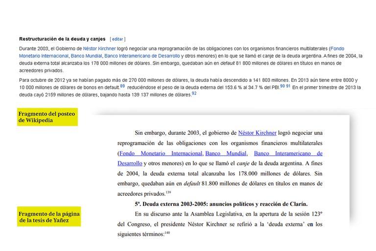 Otro fragmento de la tesis de Fabiola Yañez que es similar a la entrada de Wikipedia.