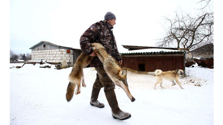 Nikolay Skidan, lleva la piel de un lobo cazado junto a Vladimir Krivenchik